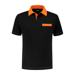 PS 200 Polo-shirt zwart-oranje