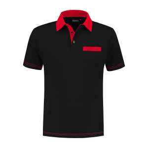 PS 200 Polo-shirt zwart-rood